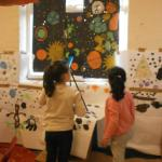 Children Creating Space Backgrounds